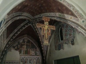 Beautiful places in Italy: San Damiano crucifix inside St. Claire church in Assisi