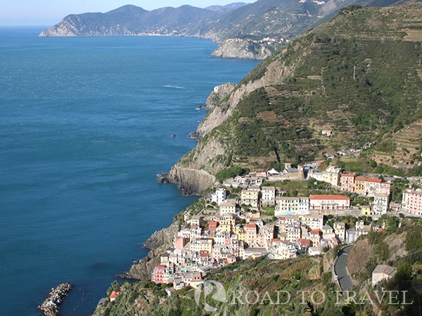 Cinque Terre coast Panoramic view of Riomaggiore and the Liguria Coast
