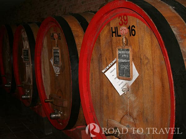 Cellars in Barbaresco Barrels of Barbaresco wine in the cellars of . Nebbiolo is considered the most noble grape in Italy, <br/>from the agin of this grapes come famous wine as Barbaresco and Barolo.