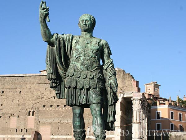 Statue of Emperor Nervae - Rome -View of the Forum Nerve in Rome.
