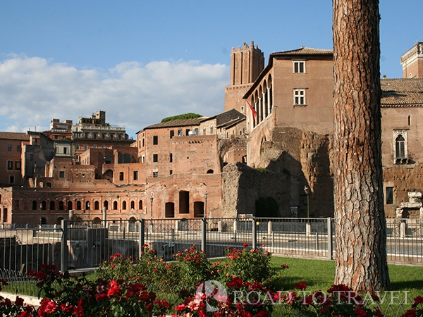 Fori Imperiali After the visit of the Colosseum you can continue your tour of Rome with a pleasant walk through Via dei Fori Imperiali overlooking the ruins of the ancient Roman city.