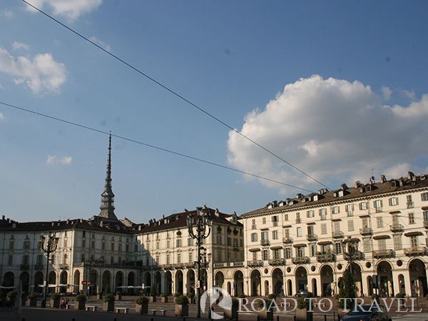 Piazza Vittorio Veneto - Turin Torino a view of the upper part of the Mole Antonelliana from Piazza Vittorio Veneto.